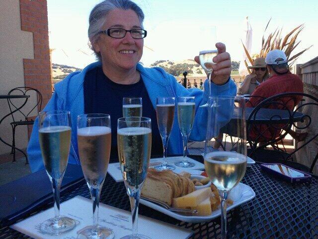 Patty Romanoff with champagne glass